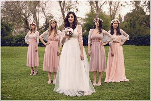 Peach Wedding Lace Boleros. Bridesmaids Versatile Loop Shawls, Wear As A Shawl, Shrug, Crisscross And Scarf. Bridesmaids Gifts, Set Of 5. by Noa Vider