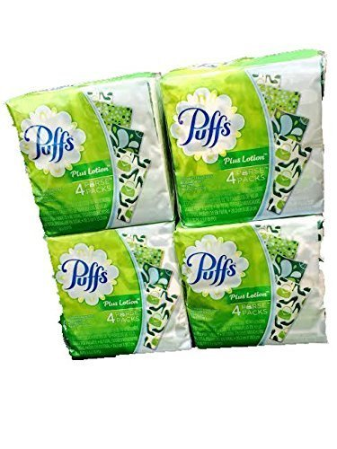 Puffs Plus Lotion Purse Packs-4 Packs -Total 16 individual packages by Puffs