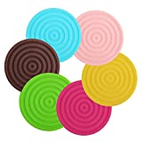 ME.FAN™ Silicone Coaster - Silicone Teapot Trivet Silicone Cup Trivet and Hot Pads - 3.94 In Size - Decorative Drink Coasters 6 Set in Bright Colors