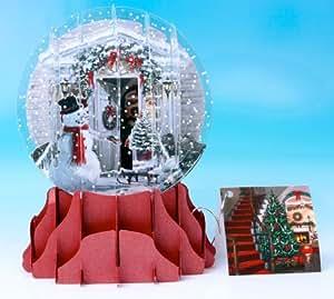 Christmas Greeting Card Pop-up 3-d Snow Globe Holiday Door SGS048