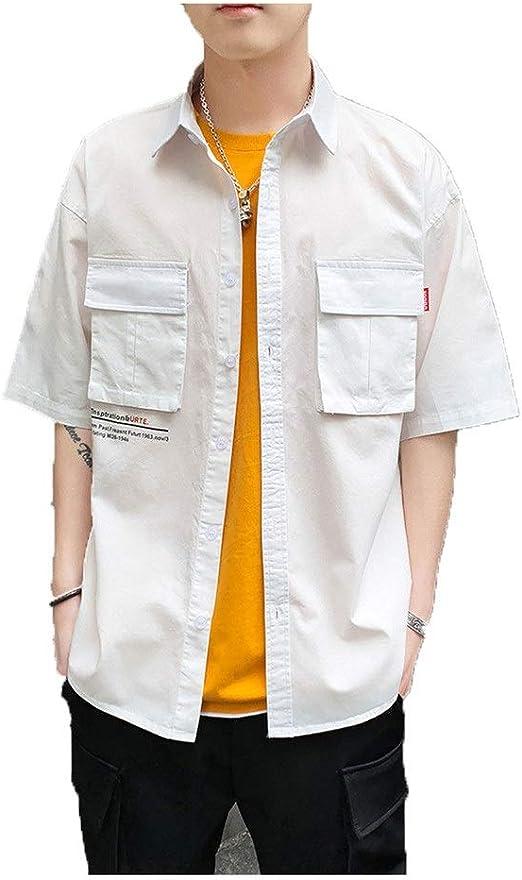 Camisas de manga corta para hombre Camisa abotonada de manga media para hombre Camisa de trabajo casual de color sólido Verano Adolescente Estudiantes Camisa holgada básica Hip Pop Club Party Top Outw: