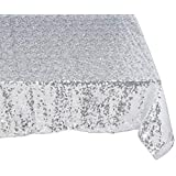 "Science Purchase 60"" x 102"" Sequin Rectangular Tablecloth - Silver"