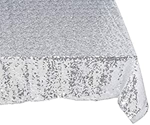 "Science Purchase 60"" x 102"" Sequin Rectangular Tablecloth – Silver"
