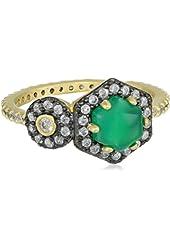 Freida Rothman Vintage Charm Green Agate Ring