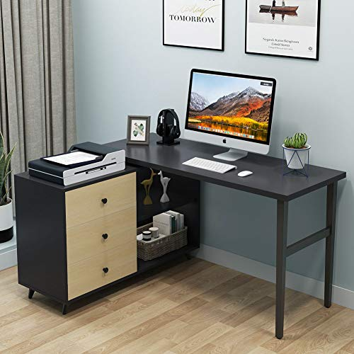 "(Tribesigns Rotating L Shaped Desk, 55"" Corner Computer Desk with 3-Drawers and Storage Shelves, Executive Desk Workstation PC Table for Home Office, Iron Grey & Walnut Finish and Stainless Steel Legs)"
