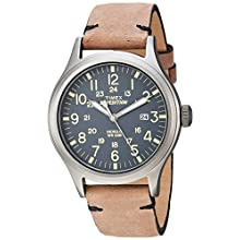 Timex Men's TW4B01700 Expedition Scout Brown/Gray Leather Strap Watch
