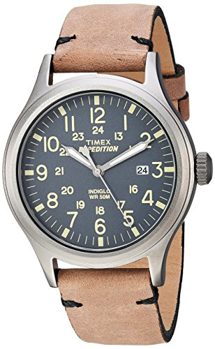 Timex Men's TW4B01700 Expedition Scout 40 Brown/Gray Leather Strap Watch (Gray Watches For Men)