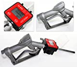 Fuel Gasoline Diesel Petrol Oil Gun Manual Nozzle Dispenser w/Digital Flow Meter