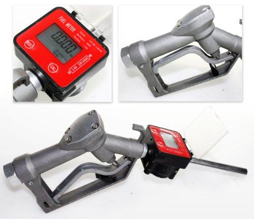 Fuel Gasoline Diesel Petrol Oil Gun Manual Nozzle Dispenser w/Digital Flow Meter -