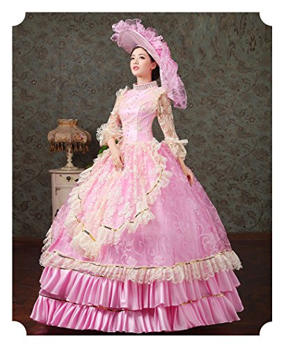 Zukzi Women's Ruffles Gothic Victorian Fancy Lolita Dress Costumes, Pink Size 8 by Zukzi (Image #3)