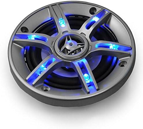 auna CS-LED4 Altavoces HiFi para Coche - Coaxiales de 3 vías, Potencia: 500W, 2 x 10 cm, Tweeter neodimio, Bobina ASV, Efecto LED Azul, Presión Sonora: 90 dB, Frecuencia 90-20000 Hz, Plateado