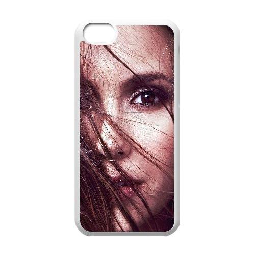 C1M70 hb Nina Dobrev face star de cinéma cas de téléphone E3F1FW coque iPhone 5c cellulaire couvercle coque blanche SD8UBB9UF