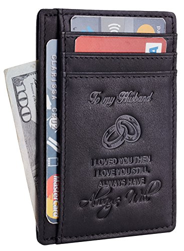 NapaWalli Wife To Husband Gift Best Anniversary Birthday Gifts For Him Genuine Leather RFID Blocking slim Wallet Card Holder (Hunter Black W/ Embossed Logo) (Birthday Gift Delivery Ideas)