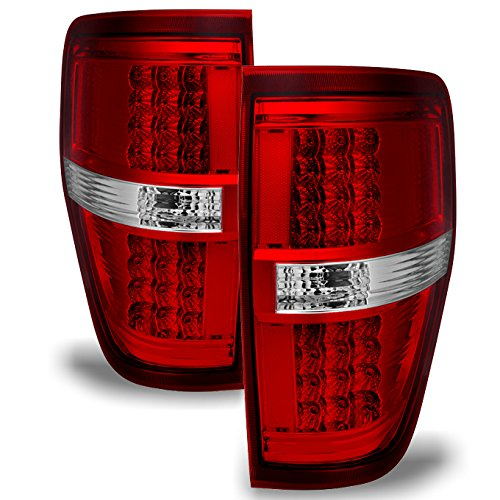 Ford F-150 Flareside Box - Red Clear 09-14 Ford F-150 Styleside Pickup Truck Rear LED Tail Lights Brake Lamps Replacement