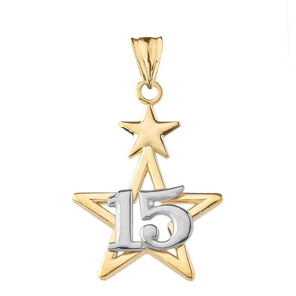 Dainty 10k Two-Tone Yellow Gold Quinceanera Star Pendant Necklace