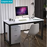 "Long World 47"" Modern Simple Style Computer Table Study Writing Desk Office Desk Rectangular Dining Table PC Desk Laptop Table Small Desk Gaming Desk Workstation Home Office Wood (White & Black Leg) Review"