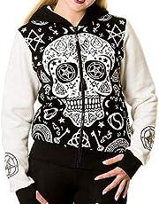 LISTHA Skull Pullover Hoodie Plus Size Women Zipper Hooded Coat Jacket Tops