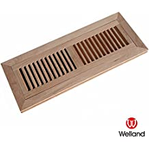 WELLAND 4 Inch x 14 Inch Red Oak Hardwood Vent Floor Register Flush Mount, Unfinished