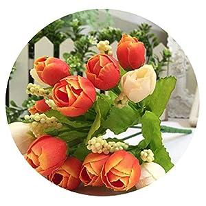 Zalin Artificial Silk Rose Flowers Arrangement for Weeding Leaf Home Decor Bridal Bouquet Fake Flower 18FEB2,B 38