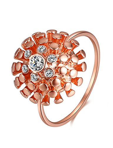 XZP Fashion Cubic Zirconia Rings Made with Swarovski Crystal Rose Gold Plated Ring for Women (Size 8) ()