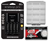 Panasonic eneloop Pro (4) AA 2550mAh Pre-Charged NiMH Rechargeable Batteries & Charger + Battery Case + Kit