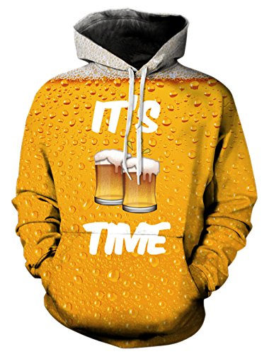 - RAISEVERN Women 3D Realistic Digital Print Pullover Hoodie Hooded Sweatshirt M Beer
