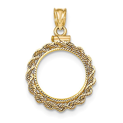 14k Yellow Gold Hand Made Rope Screw Top 1/10p Bezel Necklace Pendant Charm Coin Holders/bezel Prong Chinese Pa Fine Jewelry For Women Gift Set