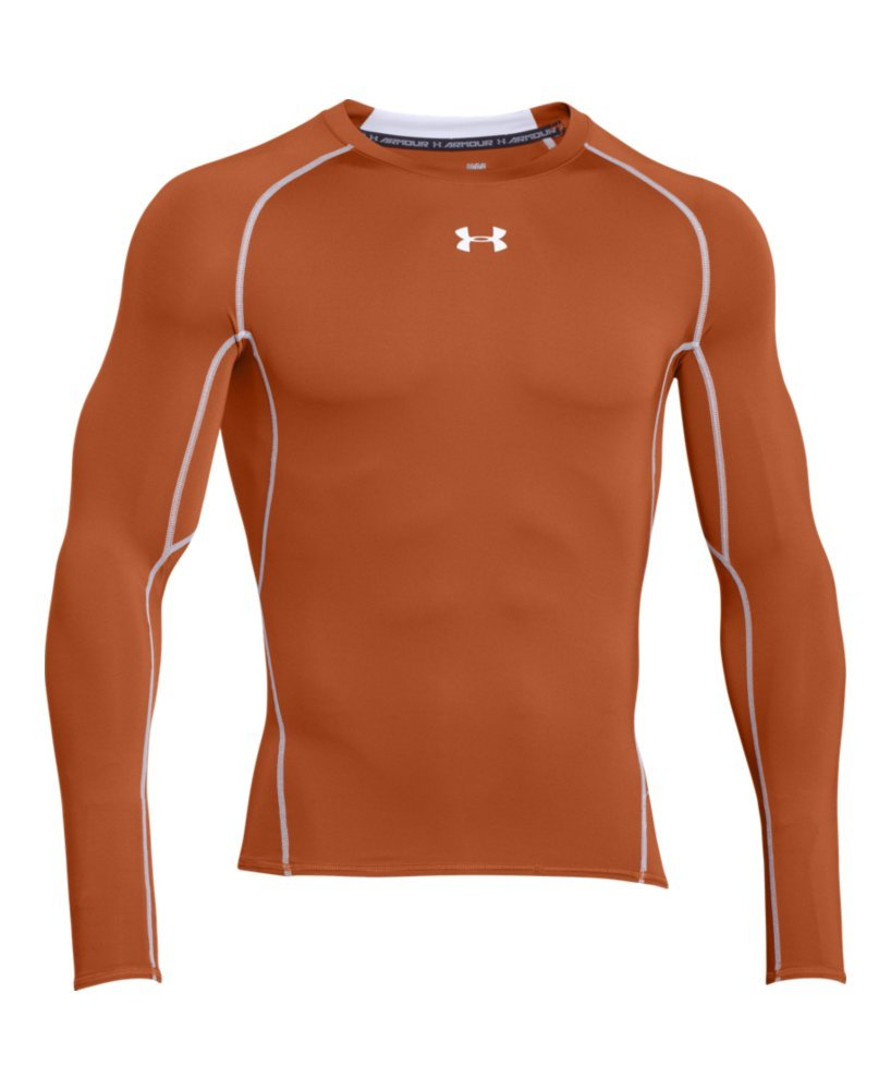 Under Armour Men's HeatGear Long Sleeve Compression Shirt, Texas Orange (875)/White Small by Under Armour (Image #4)