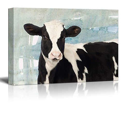 wall26 - Canvas Print Wall Art - Black and White Milk Cow on Abstract Background - Gallery Wrap Modern Home Decor | Ready to Hang - 16x24 inches