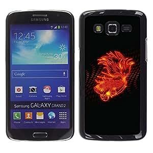 Be Good Phone Accessory // Dura Cáscara cubierta Protectora Caso Carcasa Funda de Protección para Samsung Galaxy Grand 2 SM-G7102 SM-G7105 // Fire Flower Abstract Flame Black Spots