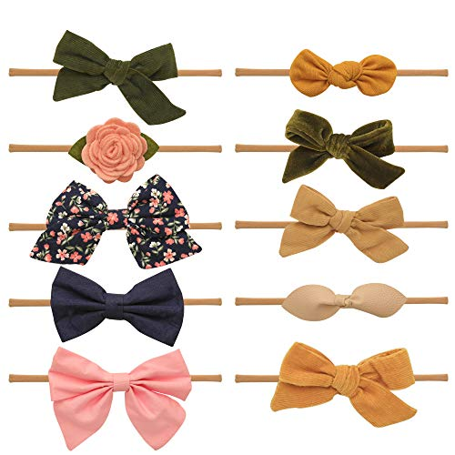 Baby Girl Headbands and bows - Nylon Headband Fits newborn toddler infant girls (Gabriella ()