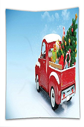 Nalahome Fleece Throw Blanket Christmas Decorations Bright Red Classic Pickup Truck with Xmas Tree Gifts and Ornaments Snow Winter Day Decor Blue Red