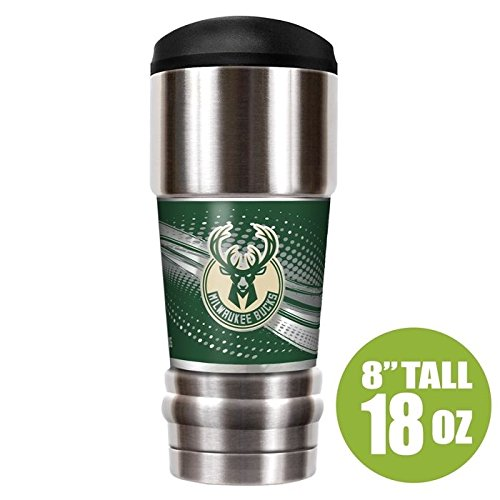 NBA Milwaukee Bucks Unisex NBA Bucks 18 oz Vacuum Insulated MVP Tumblr, - Great Bucks Milwaukee American