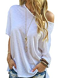 Dorismy Women's Sexy Off Shoulder Short Sleeve Casual Tops Loose Slouchy Blouse Shirt
