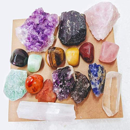 17 pcs Crystal Kit-Raw Crystal Set-Healing Crystal Set-Crystal Discovery Set-Bulk Crystals-Rose Quartz-Citrine-Clear…