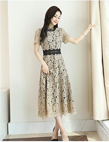 s Dress Short Hollow Dresses cotyledon Beige Neck Sleeve Waist Out Scoop High Women qw4xnfB15