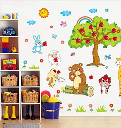 LJLQ Apple Tree Giraffe Cartoon Animals Zoo Wall Stickers for Kids Rooms Baby Room Wall Decal Home 3D Decoration Poster ()