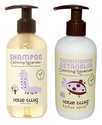 Little Twig All Natural Organic Calming Lavender Hypoallergenic Baby Shampoo & Wash and Conditioning Detangler With Tea Tree Essential Oil, Calendula & Lemon For Aromatherapy & Sleep, 8.5 fl oz each