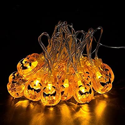 Wua 20 LED Orange Pumpkin Lights 3D Pumpkin String Light Powered by Battery LED Fairy String Lights for Halloween Christmas Festival Decoration Lanterns Lights String(80inches)