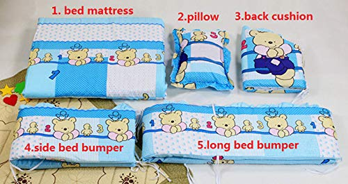 5Pcs/Set Cartoon Animated Crib, Bed Bumper for Newborns, 100% Cotton Comfortable, Children's Bed Protector, Baby Washable Bedding Set by gmhvf