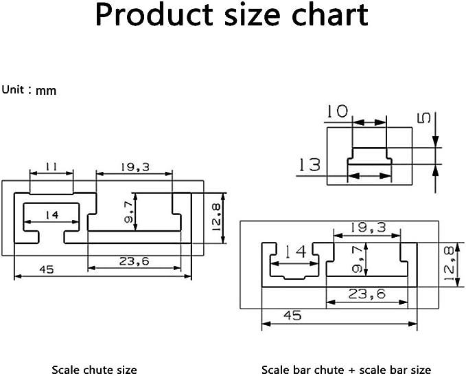 600MM JIRCA 45 T-Nut Aluminiumlegierung T-Schienen Modell und Standard-Gehrungsstopp Holzbearbeitungswerkzeug f/ür Werkbank-Fr/ästisch Mit selbstklebender metrischer Skala