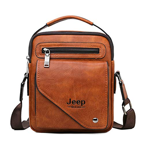 JEEP BULUO Leather Shoulder Briefcase Bags For Men New - Orange Italian Briefcase