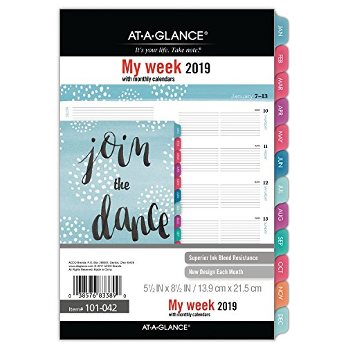 at-A-Glance Weekly/Monthly Dated Refill, January 2019 - December 2019, Small Size, Pebble (101-042) -