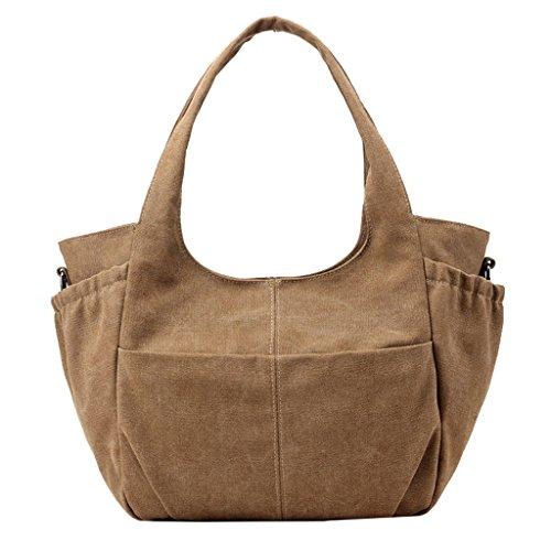 Super Modern Damen Casual Leinwand Tragetaschen Handtasche Hobos Bag Schulter Taschen top-hanle Tasche Einkaufstasche Weekender Umhängetasche Braun zgv18bnv