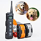 Aetertek At-919 7 in 1 Multi-functional Dog Training Collar 1000m Remote Control for 2 Dog Pet Electric Shock Training Collar, Rechargeable & Submersible Dog Shock Collar