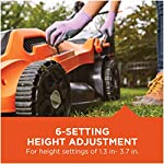 BLACK+DECKER Lawn Mower, Corded, 13 Amp, 20-Inch (BEMW213) 16 Push mower comes with 13 Amp motor to power through tall grass Electric mower can adjust height with 6 settings for precise cutting specifications Push lawn mower comes with easy Fold handle for convenient storage when not in use