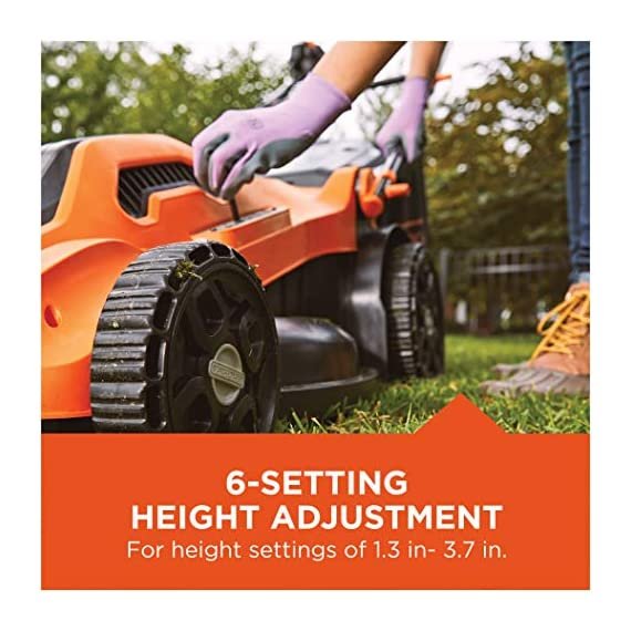 BLACK+DECKER Lawn Mower, Corded, 13 Amp, 20-Inch (BEMW213) 6 Push mower comes with 13 Amp motor to power through tall grass Electric mower can adjust height with 6 settings for precise cutting specifications Push lawn mower comes with easy Fold handle for convenient storage when not in use