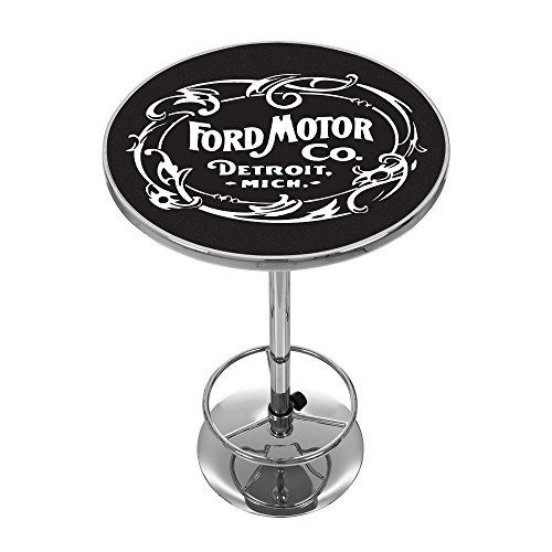 Trademark Gameroom Ford Chrome Pub Table - Vintage 1903 Ford Motor Co