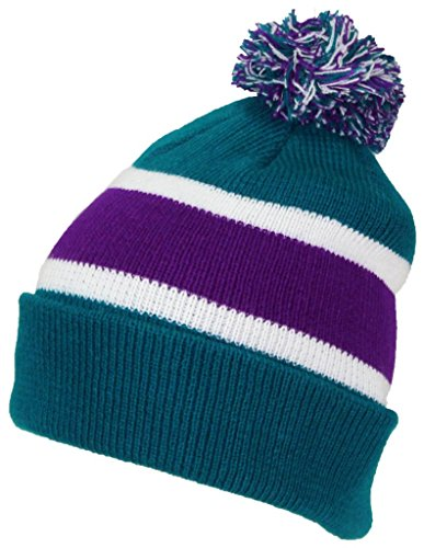 Best Winter Hats Quality Cuffed Cap with Large Pom Pom (One Size)(Fits Large Heads) - Teal/Purple -