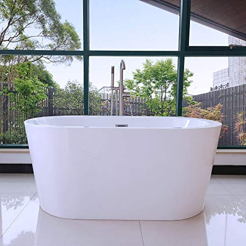 Cheapest Price! WOODBRIDGE 56'' x32 Acrylic Freestanding, White Modern Stand Alone Soaking Bathtub, ...